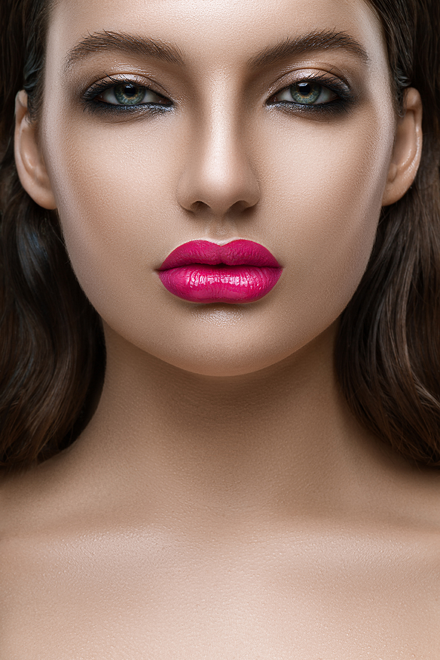 Portrait of woman with a big lips