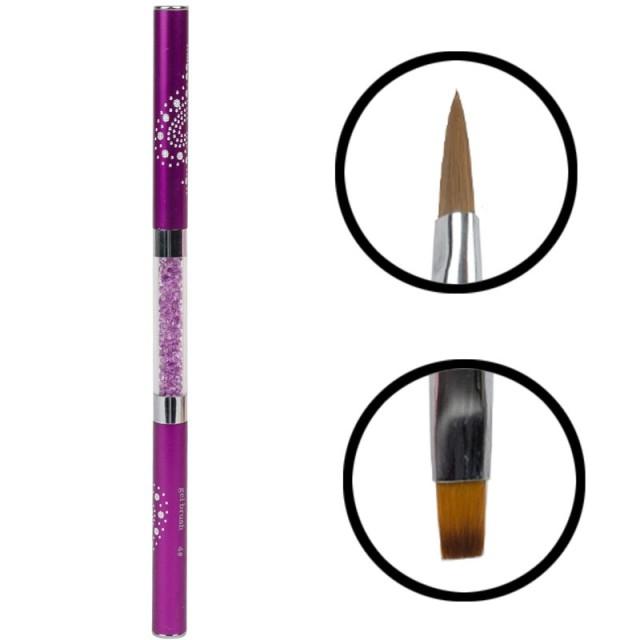 Pinceau Double avec Strass violet 2
