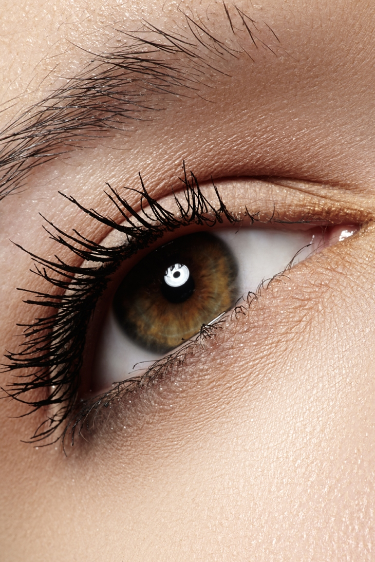 Macro of beautiful eye with extremely long eyelashes